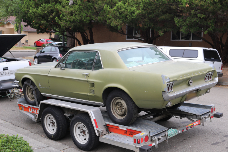 1967 Ford Mustang on a trailer